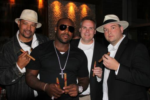 WB, Rudi Johnson, John Ost, and Johnny Kovar at Ricky Williams Super Bowl Watching Party.
