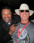 Walter Briggs and Jim McMahon at a Super Bowl Event